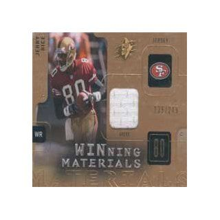 "Jerry Rice 2009 Upper Deck SPx ""Winning Materials"" #W JR Authentic Game Used Jersey (White Swatch) Insert Card Numbered 36 of 249 Made. Sports Collectibles"