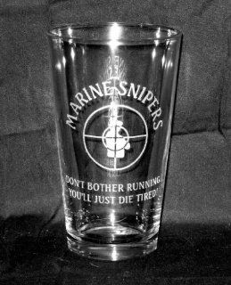 "17 OZ Heavy Etched Glass Pint Beer Glass or Cooler Marine Corps ""Marine SniperDon't Bother Running""   Usmc Beer Glass"