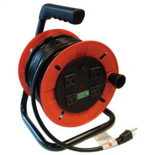 GenTran 50 ft. 14/3 Handy Extension Cord Reel with Standard 3 Prong Plug and Four 15 Amp Receptacles on Red Reel RJB14350R