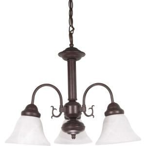 Glomar Ballerina 3 Light 20 in. Old Bronze Chandelier with Alabaster Glass Bell Shades HD 184