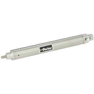 "Parker .88PSR04.0 Stainless Steel Air Cylinder, Round Body, Single Acting, Spring Return, Pivot Mount, Non cushioned, 7/8 inches Bore, 4 inches Stroke, 1/4 inches Rod OD, 1/8"" NPT Port Industrial Air Cylinders"