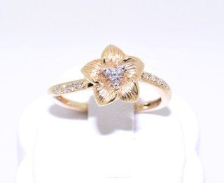 14K Yellow Gold Diamond Flower Ring Jewelry