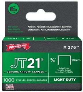 "Arrow Fastener 276 JT21 3/8"" Flat Crown Light Duty Staples 1000 per Package   Hardware Staples"