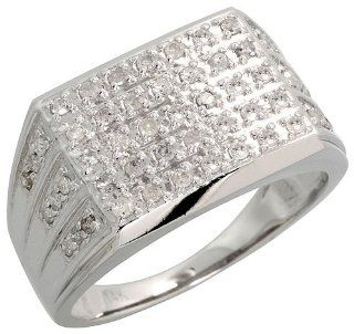 "14k White Gold Rectangular Men's Diamond Ring, w/ 0.55 Carat Brilliant Cut Diamonds, 1/2"" (13mm) wide, size 12 Jewelry"