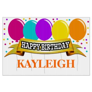 Orange/Brights Name Personalized Happy Birthday Lawn Signs