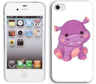 Apple iPhone 5 5S White 5W259 Hard Back Case Cover Color Cute Baby Hippo Cartoon Cell Phones & Accessories