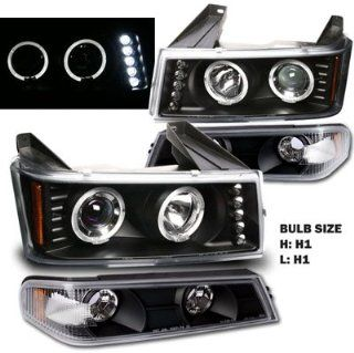 04 10 Chevy Colorado / GMC Canyon Dual halo LED Projector Headlights with Bumper Lights (Black) Automotive