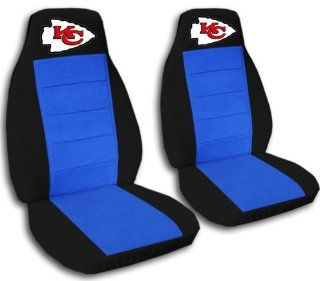 "Black and medium blue ""Kansas City"" seat covers. 40/60 split seat covers for a Ford F 150 Super Crew cab. Center console included Automotive"