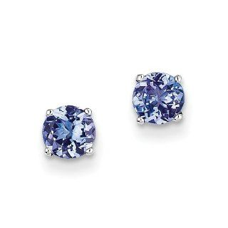 14k White Gold Tanzanite Post Earrings Jewelry