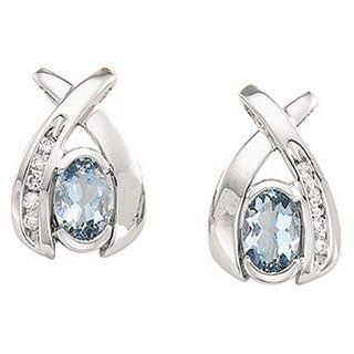Pair 6X4/ 1/10Cttw 14K White Gold Genuine Aquamarine And Diamond Earring Jewelry