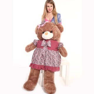 "55"" giant Huggalbe and Adorable Smile with Butterfly Necktie and Floral Skirt Plush Teddy Bear Deep Brown Toys & Games"