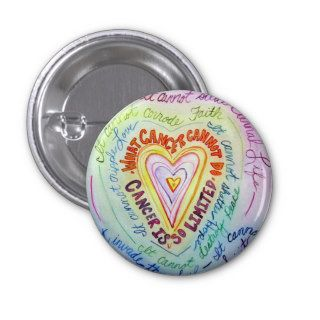 Rainbow Heart Cancer Cannot Do Poem Pin or Buttons