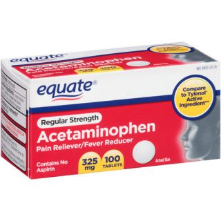 Equate Regular Strength Acetaminophen Pain Reliever/Fever Reducer Tablets, 325mg, 100 count Medicine Cabinet