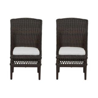 Hampton Bay Woodbury Patio Dining Chair with Bare Cushion (2 Pack) DY9127 D B