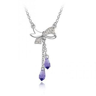 Swarovski Crystal 18k Gold Plated Tanzanite Butterfly Bow Lover Necklace Z#1700 Zg4f08182 Jewelry