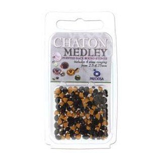 Preciosa Chaton Medley Mix Jet Black 2.5mm to 4.75mm Pointed Foil Back 5 Grams