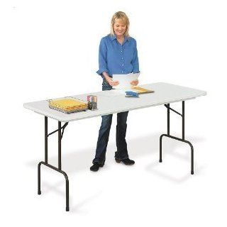 "Correll RS3072 Blow Molded Plastic Standing Height Top Folding Table, Rectangular, 30"" Width x 72"" Height, Gray Granite Folding Card Table"
