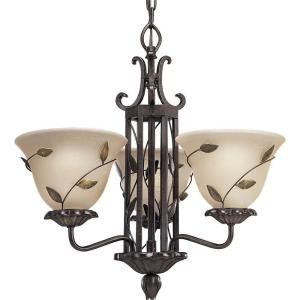 Progress Lighting Eden Collection 3 Light Forged Bronze Chandelier P4022 77