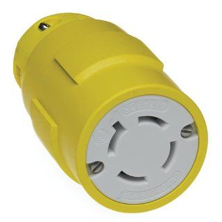 Woodhead 2977 Super Safeway Connector, Industrial Duty, Locking Blade, 3 Phase, 3 Poles, 4 Wires, NEMA L17 30 Configuration, Rubber, Yellow, 30A Current, 600V Voltage Electric Plugs