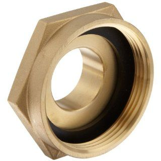 "Moon 357 2521561 Brass Fire Hose Adapter, Nipple, 2 1/2"" NH Female x 1 1/2"" NPT Male Industrial Pipe Fittings"