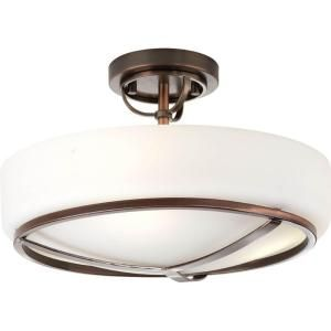 Progress Lighting Torque Collection 3 Light Copper Bronze Semi Flushmount P3978 124