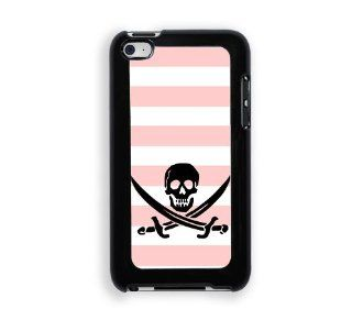 Jolly Roger Pirate Baby Pink Stripes Cute Hipsterc iPod Touch 4 Case   Fits ipod 4/4G Cell Phones & Accessories