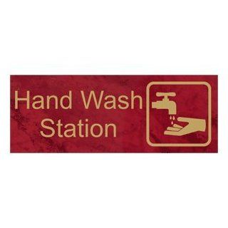 Hand Wash Station Engraved Sign EGRE 373 SYM GLDonPTWN Hand Washing  Business And Store Signs