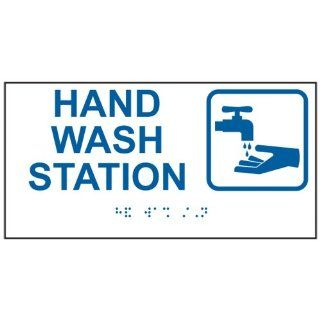 ADA Hand Wash Station Braille Sign RSME 373 SYM BLUonWHT Hand Washing  Business And Store Signs