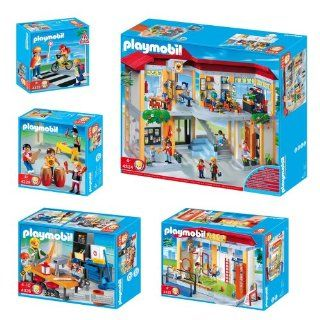 Playmobil School Set Includes Furnished School Building, Crossing Guard, Woodshop Class, Gym & School Band Toys & Games