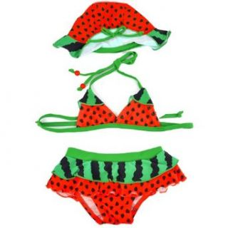 Finejo Girl's Watermelon Swimming Suit 4T Red Fashion Bikini Sets Clothing