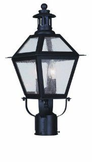 "Livex Lighting 2042 07 2 Light 120 Watt 8.5"" Wide Outdoor Post Light with Seeded Glass from the Waldwic, Bronze"