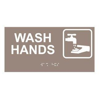 ADA Wash Hands With Symbol Braille Sign RSME 371 SYM WHTonTaupe  Business And Store Signs