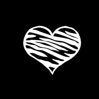 "Zebra Heart #2 Car Window Decal Sticker White 4"" Automotive"