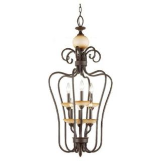 Sea Gull Lighting Montclaire 6 Light Olde Iron Hall   Foyer Pendant 51106 72