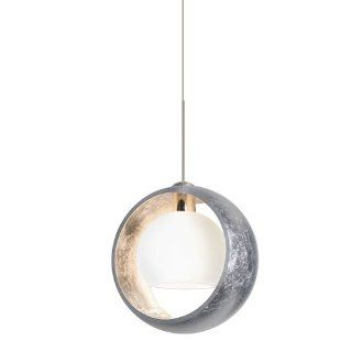 Besa Lighting 1XC 4293SS LED SN Pogo 1 Light LED Mini Pendant with Silver and Inner Silver Glass Shade, Satin Nickel   Ceiling Pendant Fixtures