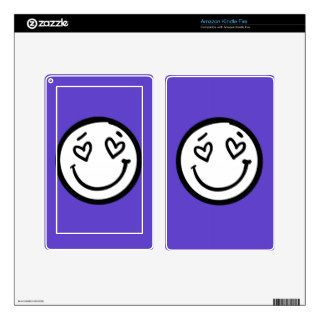 Custom Smiley Face on Purple Background Decal For Kindle Fire