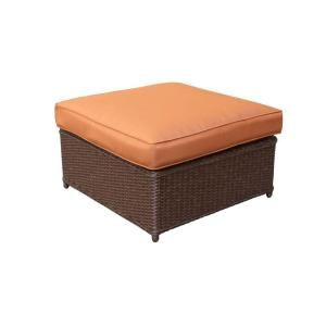 Hampton Bay Cibola Patio Ottoman with Nutmeg Cushion FW HUNOTT I2
