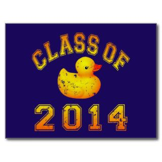 Class Of 2014 Rubber Duckie   Orange Post Cards