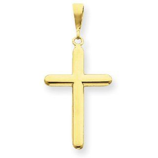 14k Yellow Gold Polished Cross Charm Pendant 42mmx20mm Jewelry