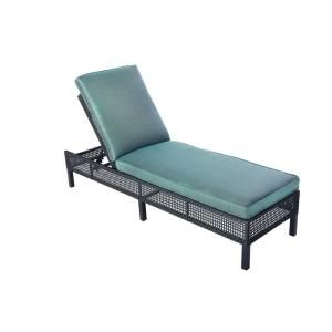 Hampton Bay Fenton Adjustable Patio Chaise Lounge with Peacock and Java Cushion D9131 CUSH