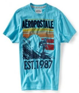 Aeropostale Young Mens; Mens Light Blue 444 Aero Catch The Waves Graphic T Shirt   Size (X Large) at  Men�s Clothing store