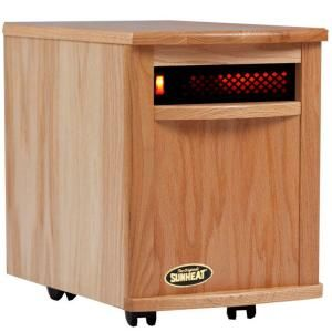 SUNHEAT 17.5 in. 1500 Watt Infrared Electric Portable Heater with Cabinetry   Natural Oak DISCONTINUED SH 1500 Natural Oak