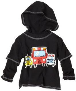 Flap Happy Baby boys Infant Silk Screened Double Sleeve Themal Hoodie Tee, To The Rescue, 18 Months Clothing