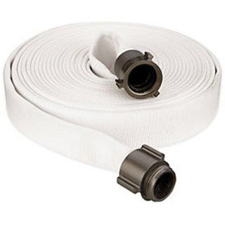 "Key Fire Double Jacket Fire Hose, White, 1 1/2""  ID, 100 feet, 1000 PSI Burst Pressure, M x F NST Aluminum Connectors"