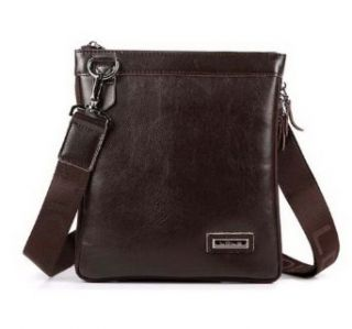 Ma Men's Cross Body Handbags Pu Leather Medium Dark Brown Medium Shoes