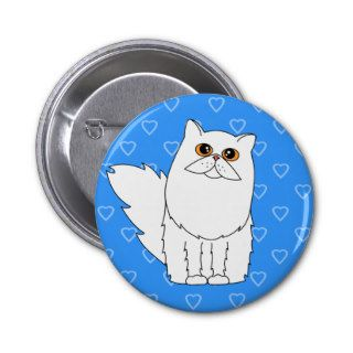 White Persian Cat w/ Orange Eyes Heart Pin