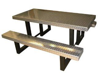 OFAB Custom Theme Tables 431A0101 8 Feet Rectangle Aluminum Diamond Plate Picnic Table, Silver *** Lifetime Warranty *** (Discontinued by Manufacturer)  Patio, Lawn & Garden