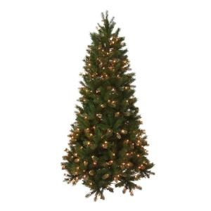 National Tree Company 6.5 ft. Feel Real Bavarian Pine Hinged Tree with 400 Clear Lights PEBV7 307E 65