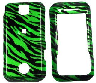 Motorola Rival A455 Glossy Green & Black Zebra Design Hard Cover