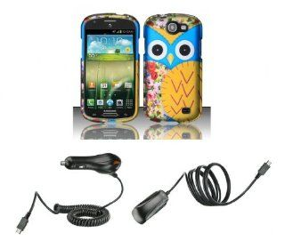 Samsung Galaxy Express I437 (AT&T)   Accessory Combo Kit   Baby Blue and Yellow Owl Design Shield Case + Atom LED Keychain Light + Wall Charger + Car Charger Cell Phones & Accessories
